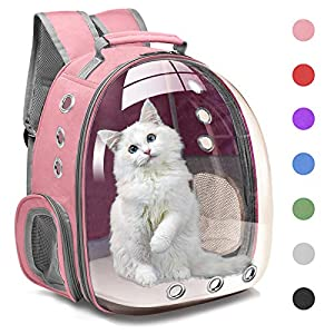 Henkelion Cat Backpack Carrier Bubble Carrying Bag, Small Dog Backpack Carrier for Small Medium Dogs Cats, Space Capsule Pet Carrier Dog Hiking Backpack, Airline Approved Travel Carrier – Pink