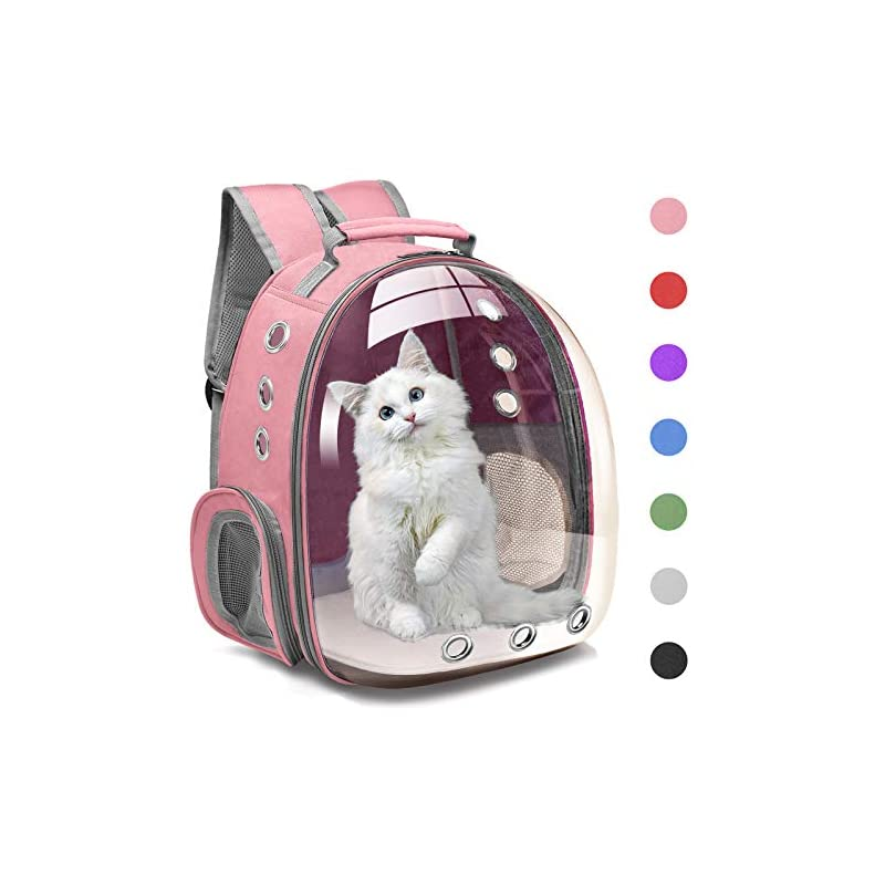 dog supplies online henkelion cat backpack carrier bubble carrying bag, small dog backpack carrier for small medium dogs cats, space capsule pet carrier dog hiking backpack, airline approved travel carrier - pink