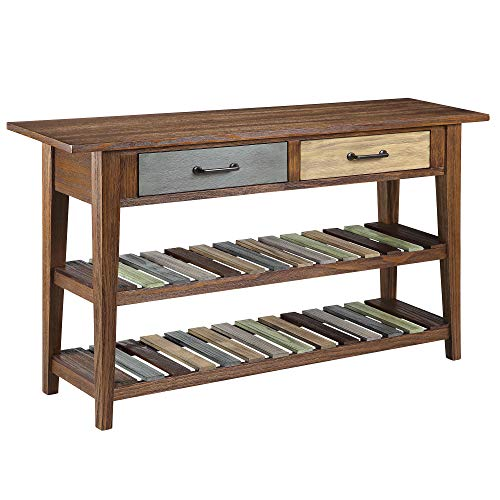 Ball & Cast Sofa Credenza Table - Distressed Brown with Multi Color Shelves