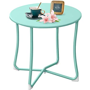 """Amagabeli Metal Patio Side Table 18"""" x 18"""" Heavy Duty Weather Resistant Anti-Rust Outdoor End Table Small Steel Round Coffee Table Porch Table Snack Table for Balcony Garden Yard Lawn, Mint Green"""