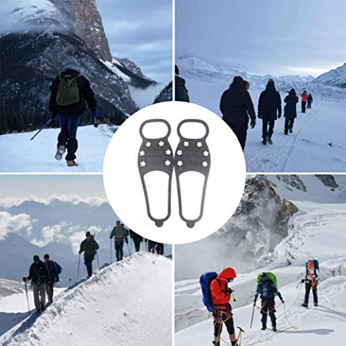 Ice & Snow Grips for Shoes and Hiking, Traction Cleat Anti Slip 6-Stud Crampons for Shoe/Boot Slip-on Stretch Footwear Men & Women, Extra 20 Studs - Best for Traction on Snow and Ice (A)