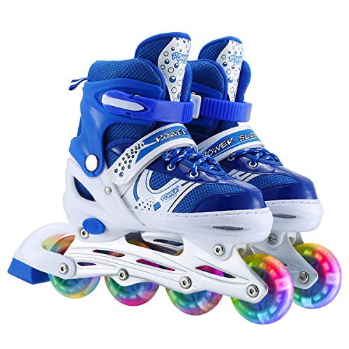 Szulight Kids Adjustable Inline Skates, Perfect First Skates for Girls and Boys with All Illuminating Wheels, Youth Children's Indoor&Outdoor Ice Skating Equipment. (Blue, Small-Little Kids)
