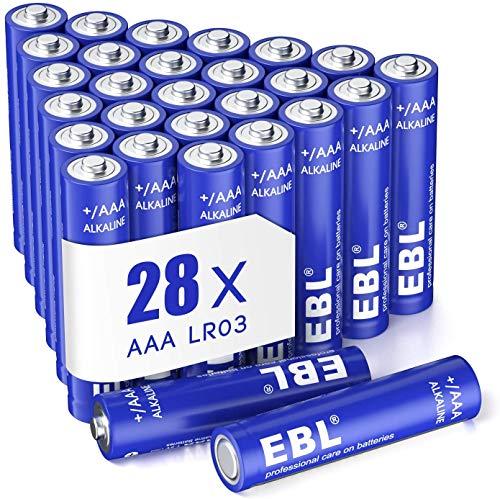 EBL Pilas AAA Alcalinas LR03 de 1,5V Gran Durabilidad & Seguridad para Juguetes Báscula Reloj (28 Unidades)