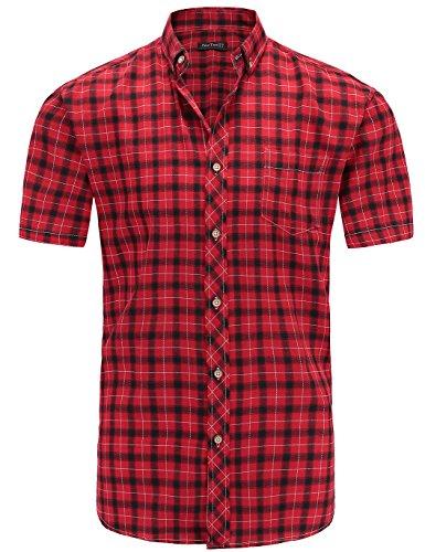 JEETOO Klassics Herren Slim Fit Bügelleicht Kariert Kurzarm Bluse Freizeit Hemd Baumwolle Button-down Super Modern super Qualität Shirt (Rot,L)