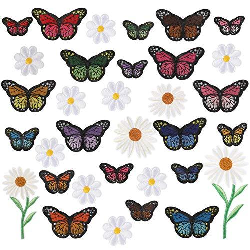 Veraing 33 Stück Patches zum Aufbügeln Set, Blumen Schmetterlinge Bügelflicken Stickerei Nähen Iron on Flicken Aufnäher Patches Sticker Kinder für DIY Kleidung T-Shirt Jeans Hut Flicken