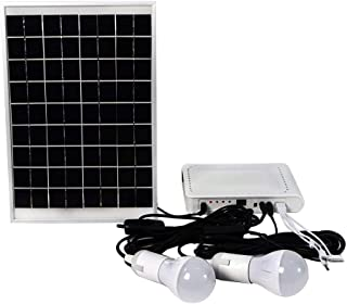 ECO-WORTHY 10W Solar Panel Powered LED Lighting System 2 LED Bulbs with USB Charger Controller for Camping Hiking Emergency Home Tent Garden
