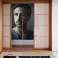 ドアカーテン, Ryan Gosling ライアン・ゴズリング 遮熱 カーテン おしゃれ 和風 断熱 ドア用網戸 部屋仕切り 玄関 キッチン リビング 飲食店 出入り口 幅86㎝x丈143㎝