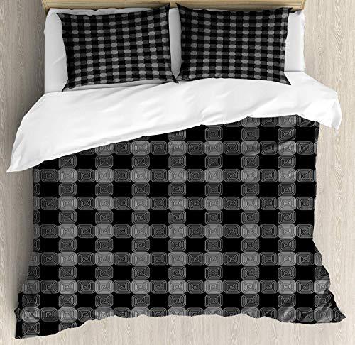 Conjunto de funda nórdica de geometría abstracta, círculos cuadrados repetidos, ilustración de simetría de bordes curvos, juego de cama decorativo de 3 piezas con 2 fundas de almohada, gris carbón y b