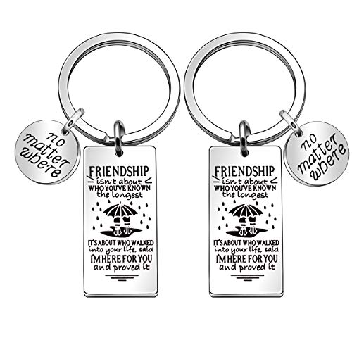 JJIA Friendship Gifts, 2 Pcs Best Friend Keychains Key Rings Keyring for Women Girls Christmas Gifts Thanksgiving Gifts Birthday Gifts, Silver, Large