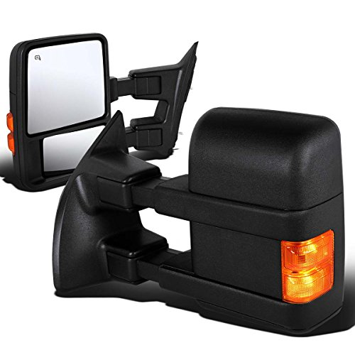 Pair Black Power Heated Amber LED Turn Signal Light Rear View Side Towing Mirrors Compatible with...