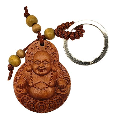 Feng Shui Peach Wood Money Happy Laughing Buddha Key Ring Amulet for Wealth Luck