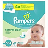 Pampers Natural Clean Unscented Water Baby Wipes 7X Refill Packs, 504...