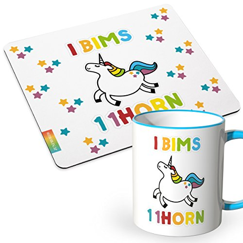 JUNIWORDS Tasse + Mousepad im Set - ideal als Geschenk - Halo i bims 1 1Horn