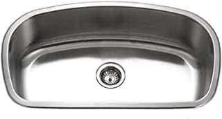 Houzer MB-3300-1 Medallion Designer Series Undermount Stainless Steel Large Single Bowl Kitchen Sink