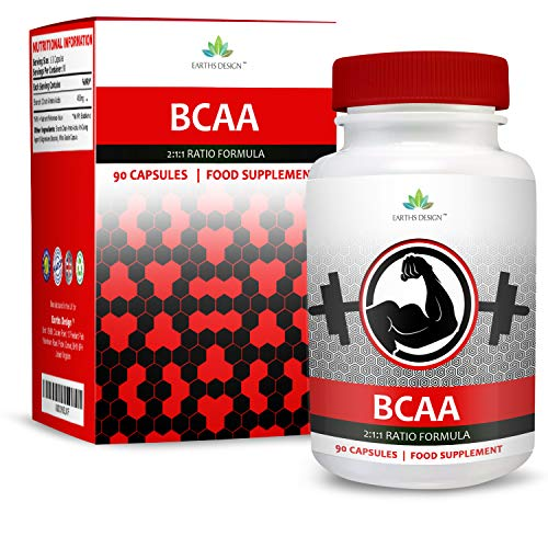 BCAA - Aminos 2:1:1-450mg Branched Chain Amino Acids with Leucine, Isoleucine, Valine - 90 Capsules (3 Month Supply) by Earths Design