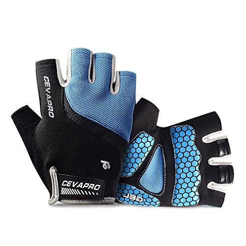 Yobenki Fahrrad-Handschuhe, atmungsaktiv, halber Finger, für Herren und Damen, rutschfest, stoßdämpfend, Mountainbike-Handschuhe für Fitnessstudio, MTB, Reiten, Laufen XL blau