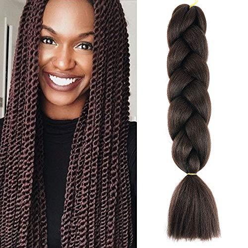 """24"""" Braids Extensions Jumbo Braids Kunsthaar 1 Bündel Kanekalon Synthetik Crochet Hair Flechthaar Afro Box Braiding (Mittel braun)"""