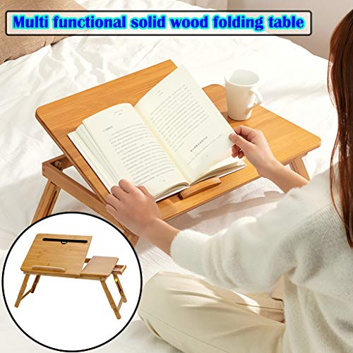 Laptop Desk for Bed Sofa with Adjustable Tilting Top Multi Function Table