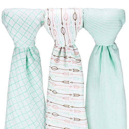 Muslin Baby Swaddle Blankets, Large (3 Pack) Mint Blue and White Collection