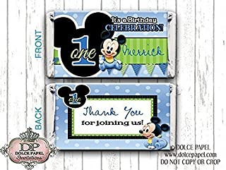 10 Blue and Black BABY MICKEY MOUSE Custom Birthday Mini Hershey Candy Bar Wrappers