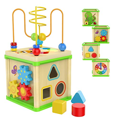 TOP BRIGHT Wooden Activity Cube  with Bead Maze Shape Sorter