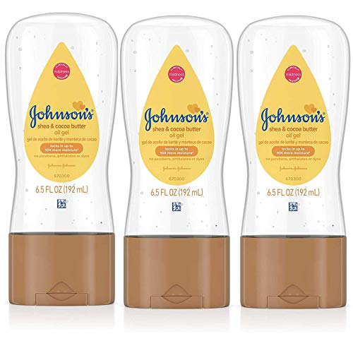 Johnsons Baby Oil Gel Shea & Cocoa Butter 6.5 Ounce (192ml) (3 Pack)
