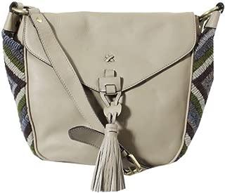Womens Aspen I Leather Adjustable Saddle Handbag Gray Medium