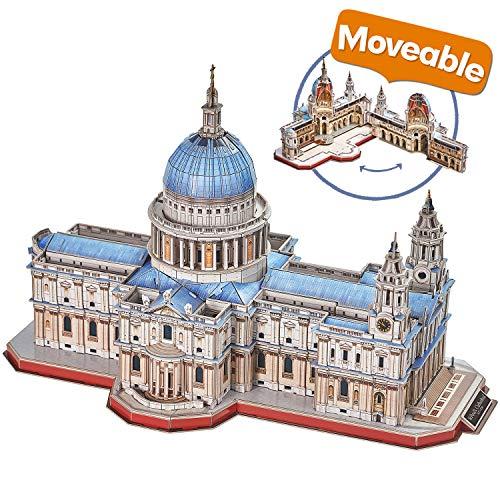 CubicFun Puzzle 3D Londres St.Pauls Cathedral Rompecabezas 3D Arquitectura Iglesia Reino Unido Modelo de Construcción Kits para Adultos Regalos, Catedral de San Pablo 643 Piezas