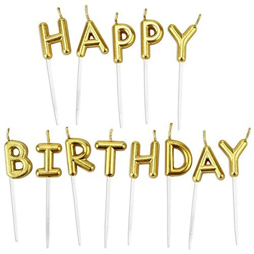Chic Happy Birthday Metallic Letter Candle Cake Topper, Gold