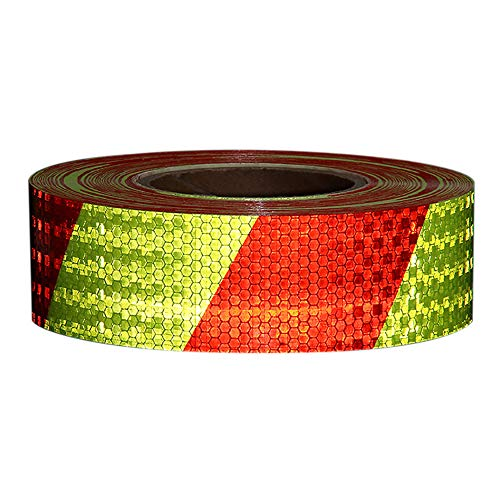 Walmeck PVC 3000 X 50mm Self Adhesive Shining Reflective Safety Warning Tape for Car Yellow & Red