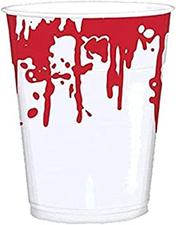 Amscan | Party Tablewares | Blood Splatter Printed Cups | 25 in a pack | 16 oz | White w/ print of dripping blood