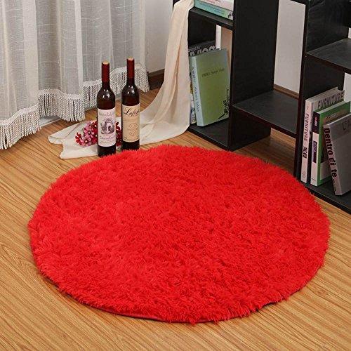 ELEOPTION Round Soft Shaggy Microfiber Area Rug, Anti-skid Floor Mat Room Carpets for Kids Room Children Playroom Living Room Bedroom Chair Cushion, 80cm, Red