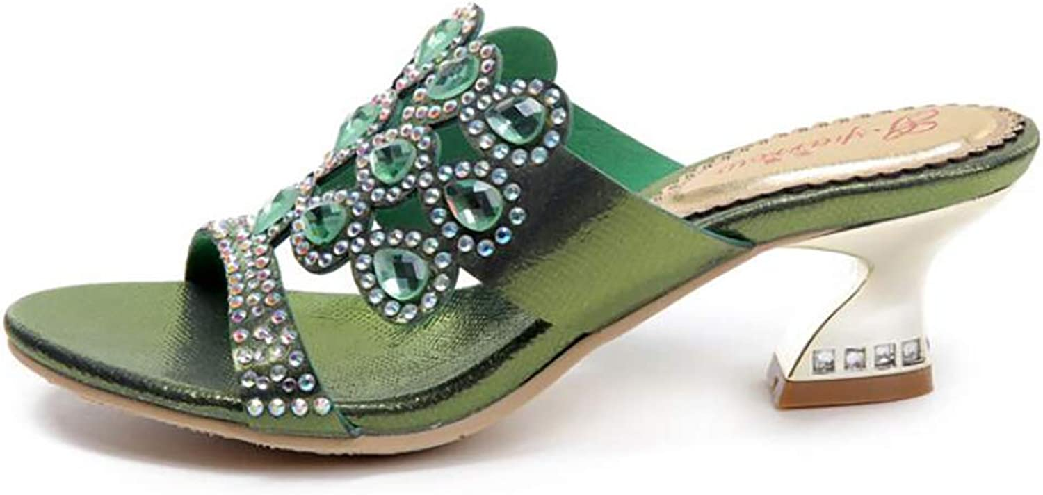 Women's Sandals,Summer Fashion Middle East Rhinestone Non-Slip wear-Resistant Beach High Heels Flip Flops