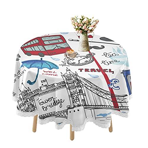 London Landmark - Mantel impermeable para mesas redondas, mantel de encaje para mesa de comedor al aire libre, resistente a las manchas, fiestas, picnic, cocina, vacaciones, decoración de 152 cm