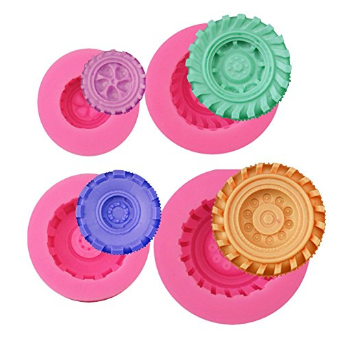 Mity Rain 3D Round Tire Fondant Mold-Truck Wheel Shape Silicone Mold for Sugarcraft Cake Decoration, Chocolate, Candy, Polymer Clay, Soap, Jelly etc-Set of 4