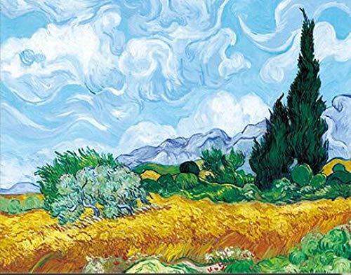 Tarwe veld met Cypressen van Van Gogh schilderijen replica aan de muur Impressionist Landschap Wandkunst Canvas Afbeelding Cuadros Decor 60x80cm zonder lijst