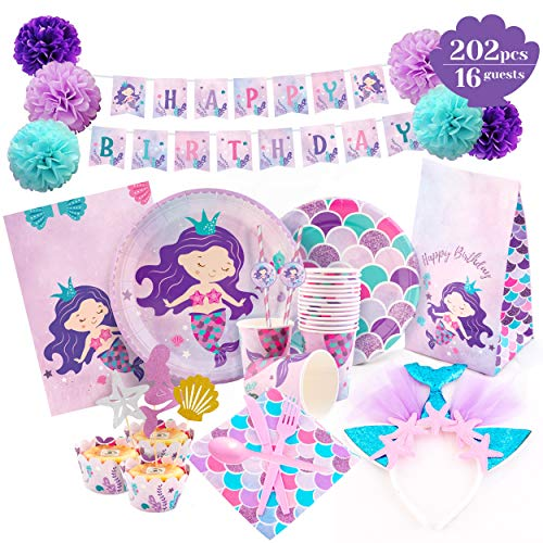 Cheapest Prices! Mermaid Party Supplies - Mermaid Birthday Decorations Set Happy Birthday Banner | P...