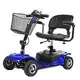 AFDK Travel Mobility Scooter Plegable, Silla de ruedas motorizada Scooter eléctrico Ancianos Mayores, Roller Roller 4 ruedas con asiento Silla de ruedas plegable con cestas, Azul,Azul