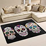 XiangHeFu Teppiche Fußmatten Kunst Muster Zuckerschädel Dia De Los Muertos Mexikanische Weiche Teppich Matte 6'x4 '(72x48 Zoll) für Wohnzimmer Esszimmer Schlafzimmer Zuhause Dekorativ