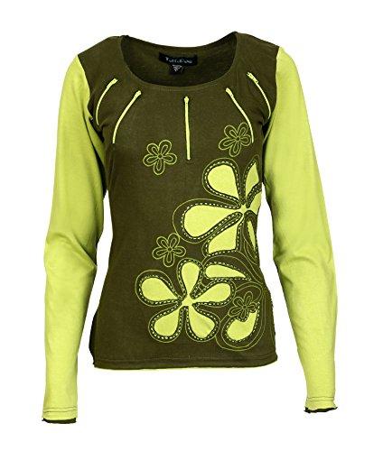 TATTOPANI Damen Oberteil mit Blumen-Stickerei und Aufnäher, langärmelig - Grün - X-Groß