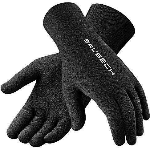 BRUBECK Handschuhe Joggen Damen & Herren | Running Gloves Women Men | Schwarze Laufhandschuhe nahtlos atmungsaktiv | Sporthandschuhe anatomisch | 54% Merino | Gr. XXL | GE10020-Merino - Schwarz