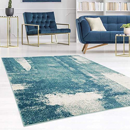 carpet city Teppich Modern Designer Wohnzimmer Inspiration Arte Vintage Meliert Pastel-Blau Creme Größe 120/170 cm