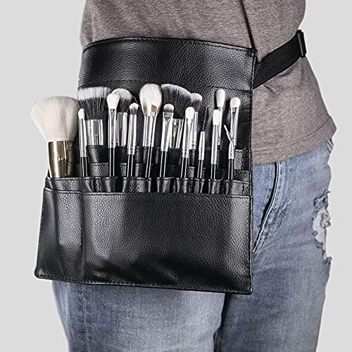 Pochette de sac de pinceau de maquillage professionnel Portable 32 poches organisateur de porte-pinceau cosmétique avec sangle de ceinture d'artiste en cuir PU (pinceau non inclus)