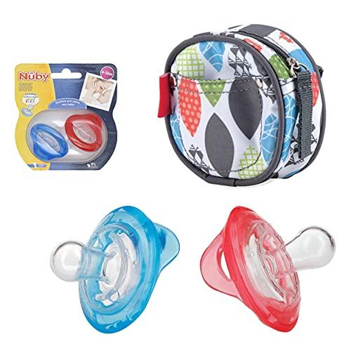 Chupetes de silicona Flex Cherry para bebés recién nacidos, 2 chupetes de bebé, sin BPA, mejor para bebés de 6 a 36 meses (paquete de 2 chupetes azul y rojo))