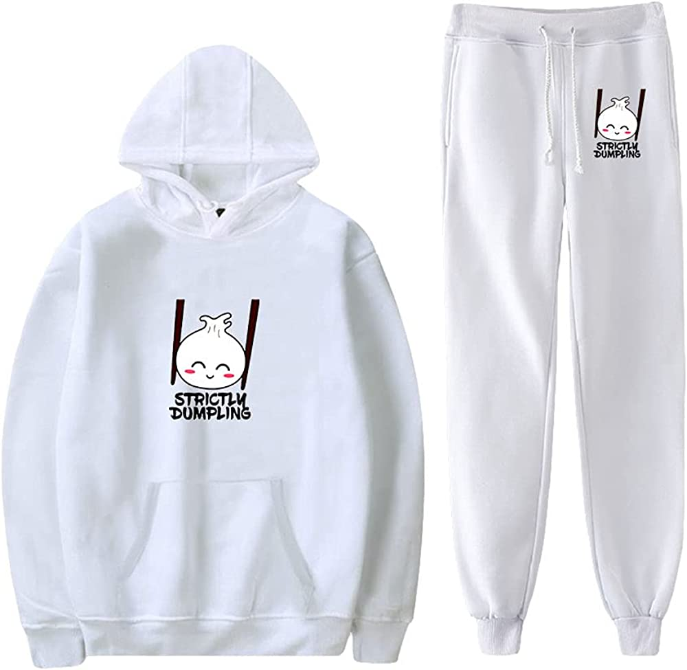 Unizka Strictly Dumpling 2 Pieces Sets Hoodie & Trousers Unisex Kawaii Hip Hop Influencer Suit (White,X-Small)