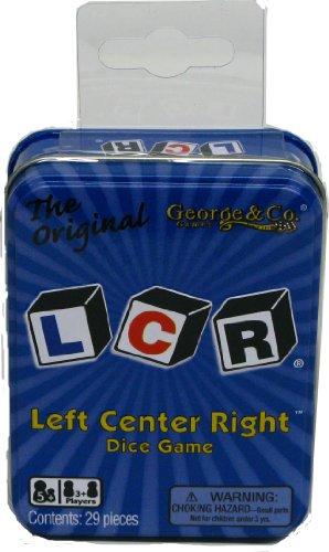 George et Company LLC - LCR gauche Centre droite Jeu de dés - Bleu Tin - version anglaise