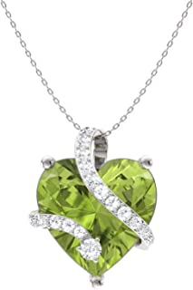 0.60 Ct AFFY Round Cut Simulated Green Emerald Heart Key Pendant Necklace 925 Sterling Silver