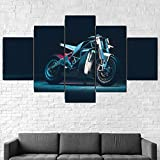 Cuadros Impresos En Lienzo Que Brillan En La Oscuridad 100X55Cm 5 Piezasmotocicleta Eléctrica De La Bici Premium Lienzo De Tejido No Tejido Xxl