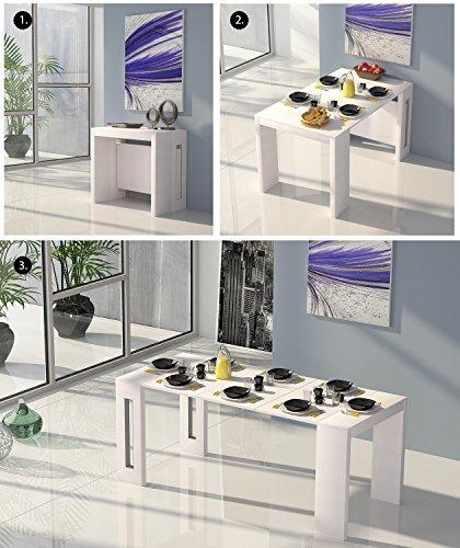 Modernes 4in 1ausziehbar Esstisch 100% Made in Italy Multifunktions-Konsole ausziehbar Tische modernes Weiß