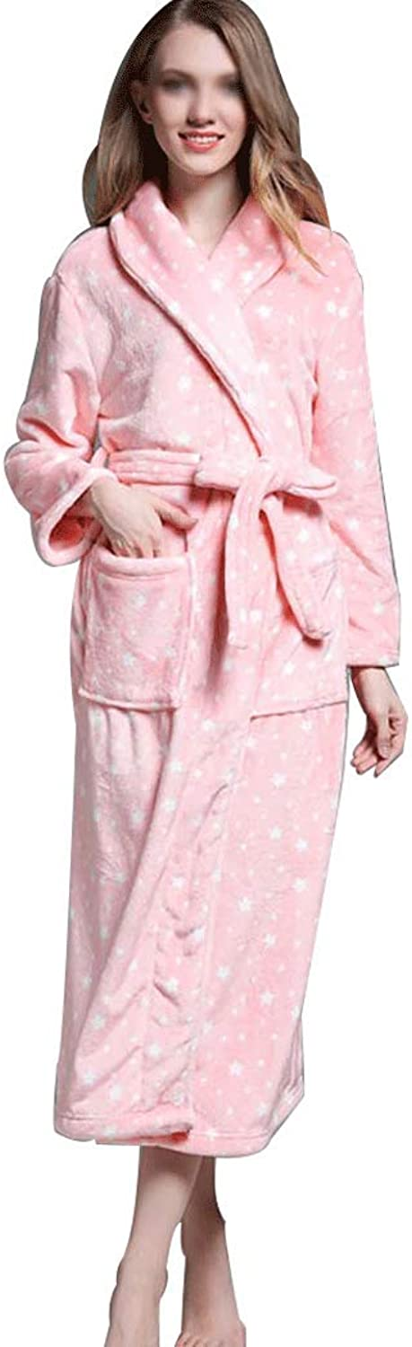 YUNHAO Ladies Bathrobes Autumn and Winter Flannel Pink Thick Section Long Paragraph Warm Bathrobes Sauna Bathrobe A (color   Pink, Size   S(065kg))